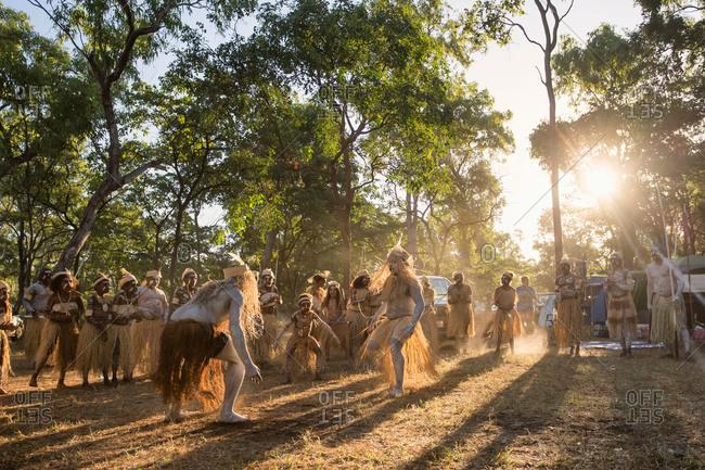 Laura, Queensland, Australia - June 23, 2013: Tribal men dancing at the Laura Aboriginal Dance Festival