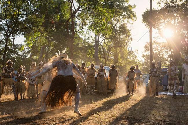 Laura, Queensland, Australia - June 23, 2013: Men performing a tribal dance at the Laura Aboriginal Dance Festival