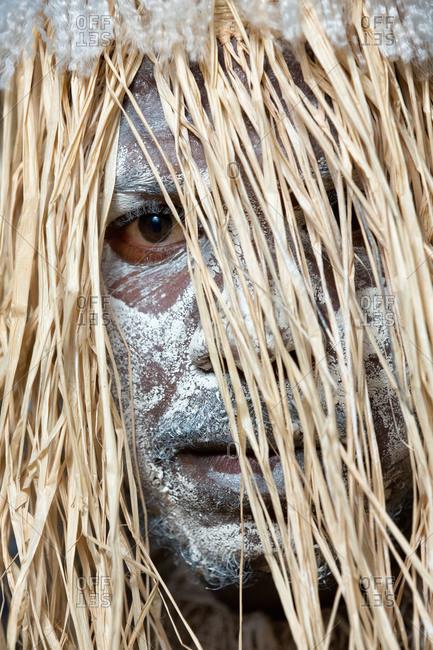 Laura, Queensland, Australia - June 23, 2013: Portrait of a tribesman at the Laura Aboriginal Dance Festival