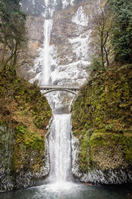 Winter at the Multnomah Falls, Oregon