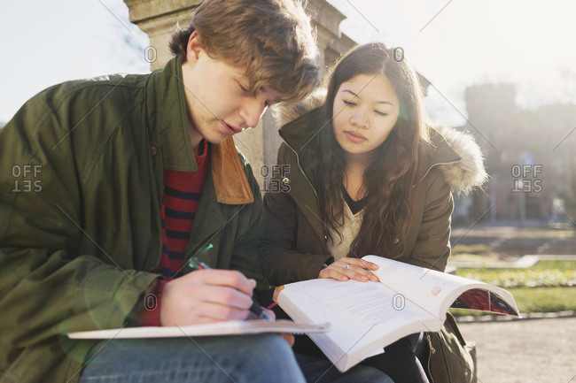 Young man discussing classwork with fellow student outdoors