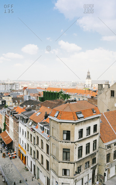 Aerial view of Marolles district of Brussels in summer next to square Place Poelaert and Palace of Justice