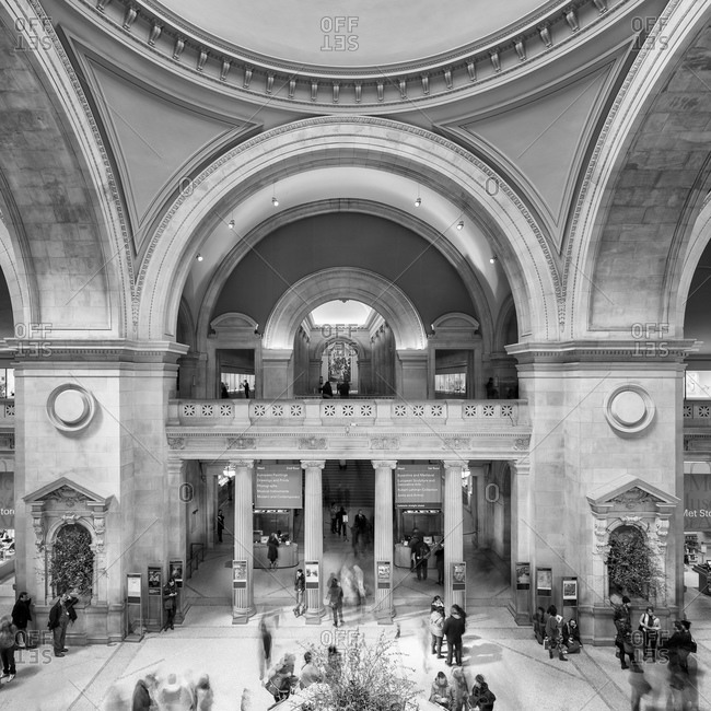 New York, NY, USA - March 14, 2014: The main entrance hall of a the Metropolitan Museum of Art in New York City