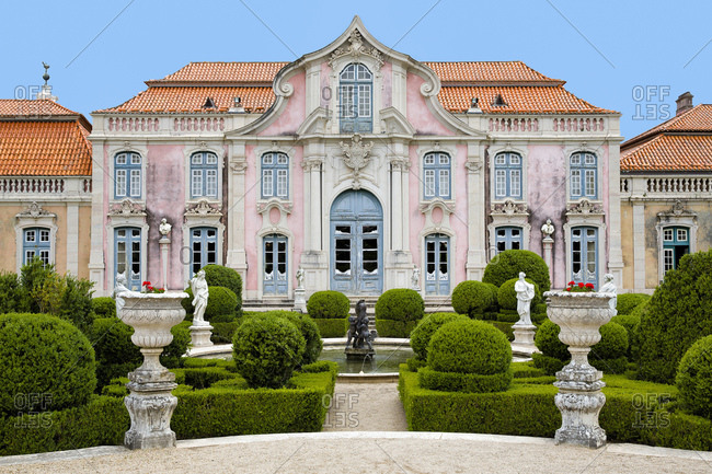 Queluz, Portugal - July 6, 2014: Queluz National Palace in Portugal