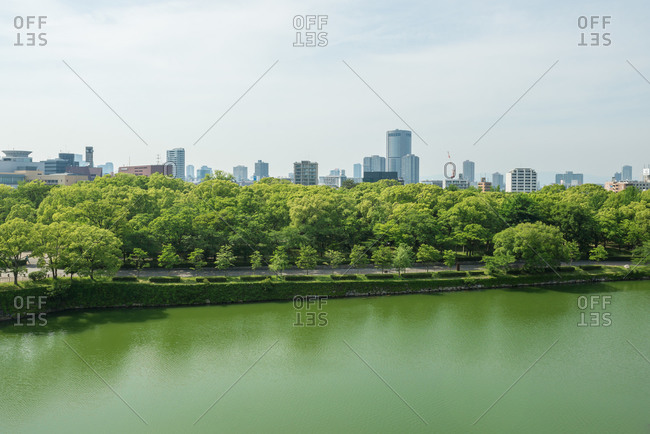 Park and city skyline in Japan