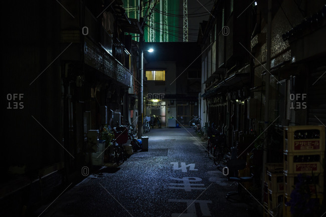 June 7, 2015: Dark back street at night in Japan