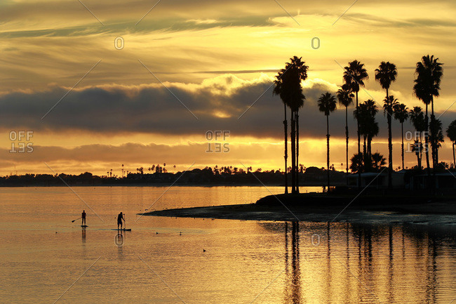 Stand up paddle boarders glide across the water as the sun sets in Mission Bay in San Diego, CA