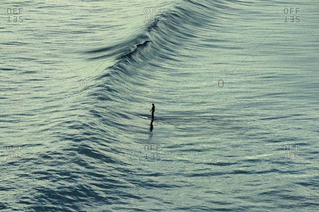 A paddle boarder glides across the ocean Black's Beach in La Jolla, a beach community in San Diego, CA