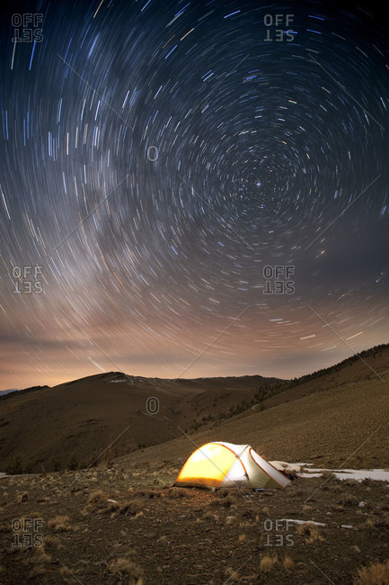 Star trails over camp, White Mountains, Ancient Bristlecone Forest, Inyo National Forest