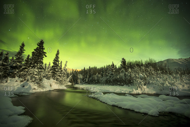 Nothern lights at Black Rapids, Alaska