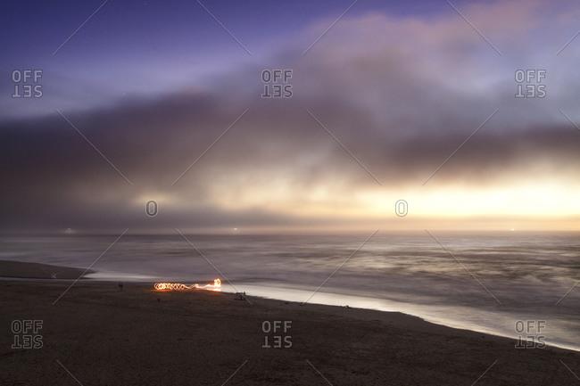 Spinning Fire on the Beach at Dusk, Sonoma Coast