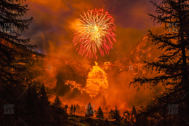 Fireworks above Toce Falls, Formazza Valley, during a fireworks competition