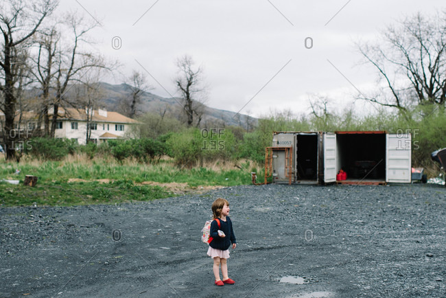 Crying little girl stands on a road