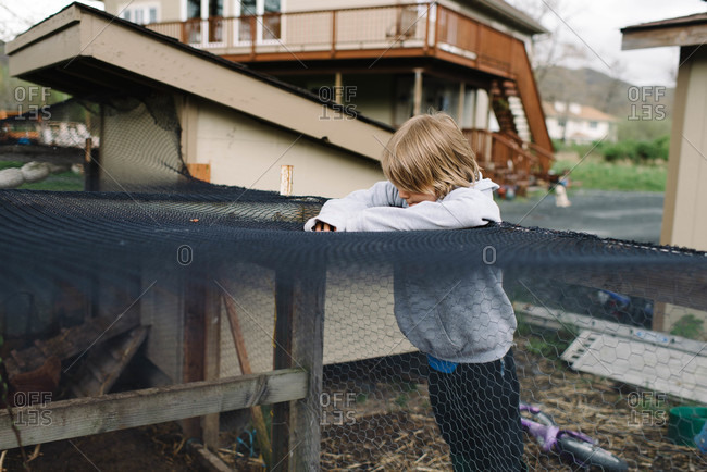 Boy leaning against a chicken coop