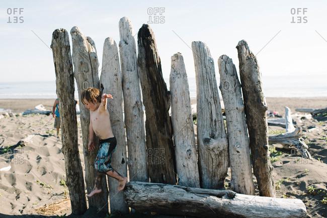 Boy jumping off a driftwood on the beach