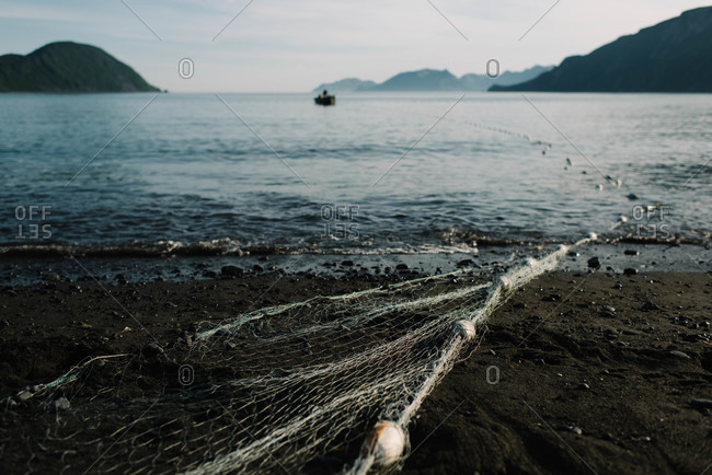 Fishing net on a beach
