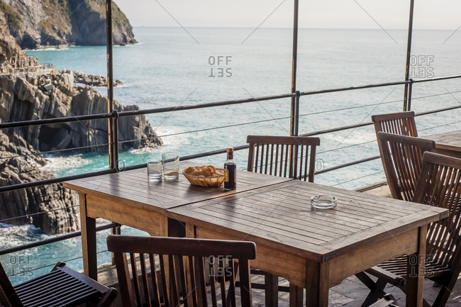 A table at a seaside restaurant in Italy