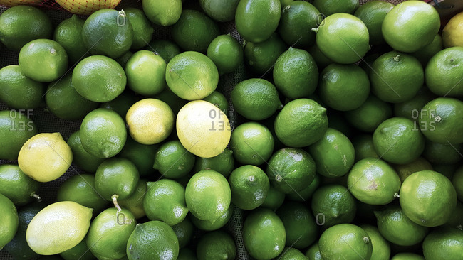 Overhead view of limes and lemons at produce market