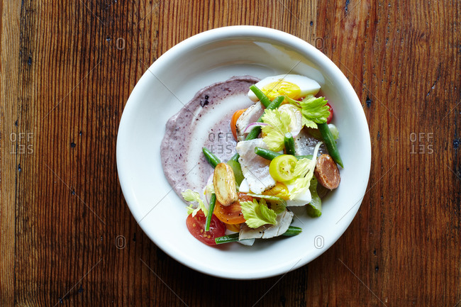 Grilled rare tuna Nicoise salad