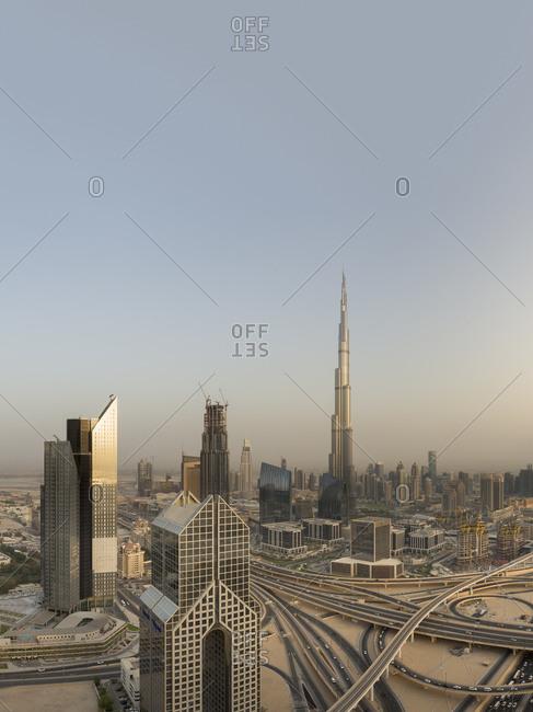 Interchange at Sheikh Zayed Road at dusk