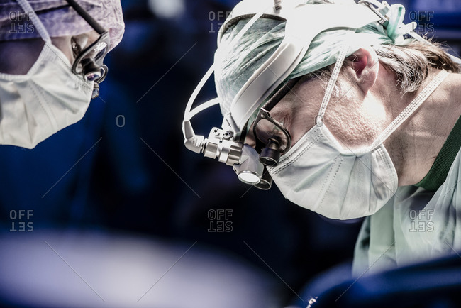 Close up of two surgeons during a surgery