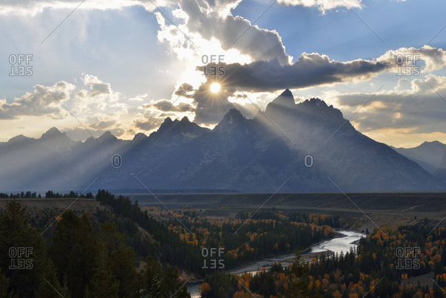 Dramatic sky over Teton Range seen from the Snake River Overlook