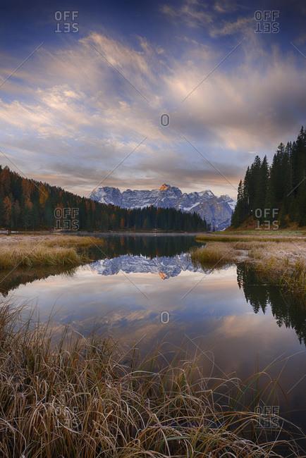 Misurina Lake with mountain Sorapiss at sunrise