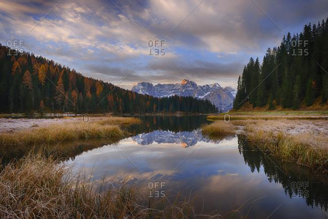 Misurina Lake with mountain Sorapiss at dawn