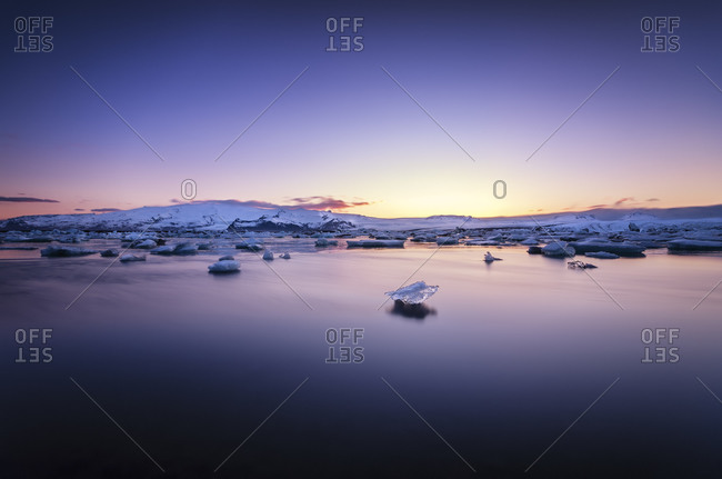 View to Jokulsarlon Ice Lagoon at twilight