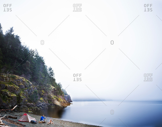 Beachfront tent camping on Vancouver Island, British Columbia