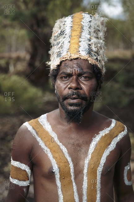 Laura, Queenstown, Australia - January 27, 2014: Portrait of Australian aboriginal man