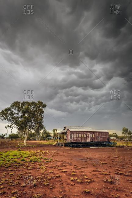 Storm rolling across squatter community in Queensland, Australia
