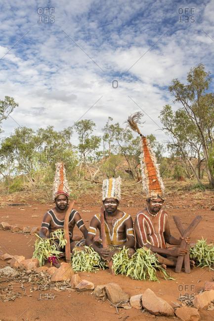 Cloncurry, Queenstown, Australia - January 27, 2014: Men of the 'Kangaroo Society', in far western Queensland