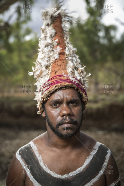 Cloncurry, Queenstown, Australia - January 27, 2014: Marrinyama Man posing for portrait in traditional dress