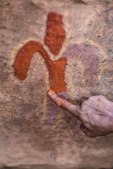 Retouching Australian aboriginal rock painting