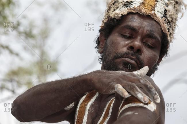 Cloncurry, Queenstown, Australia - January 27, 2014: Marrinyama Man preparing to dance on sacred ground, Australia