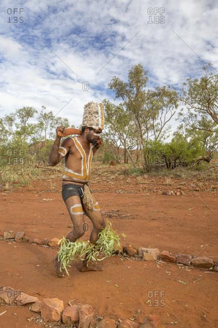 Cloncurry, Queenstown, Australia - January 27, 2014: Marrinyama Man dancing on sacred ground, Australia