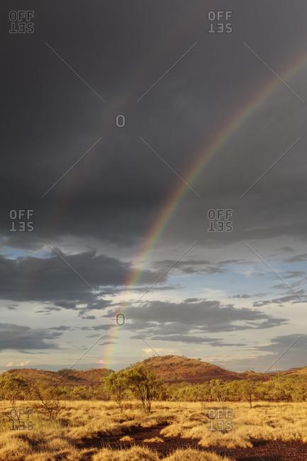 Rainbow over the desert in Queensland, Australia