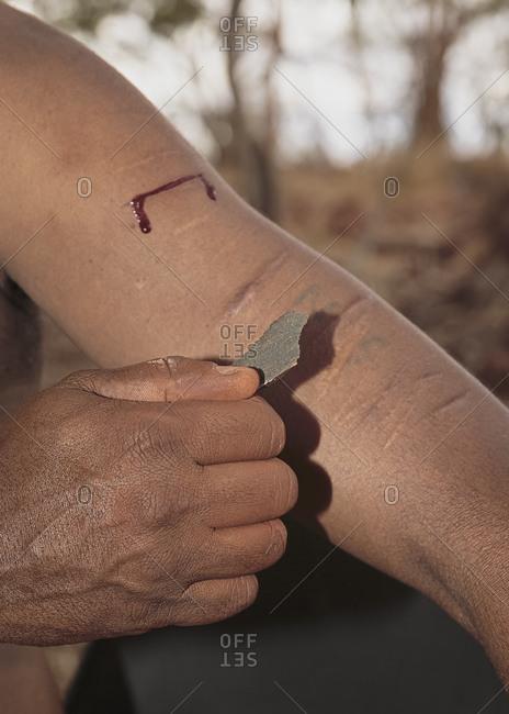 Ritual scarification by native Australian
