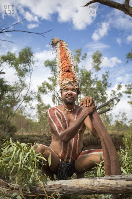 Cloncurry, Queenstown, Australia - January 27, 2014: Marrinyama man in traditional dress in Western Queensland, Australia