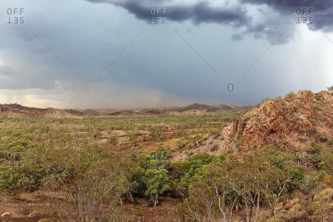 Desert dust storm and rain over Queensland, Australia