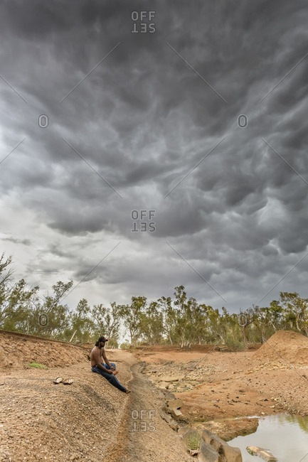 Cloncurry, Queenstown, Australia - January 25, 2014: Desert storms rolling across deserted country in Australia