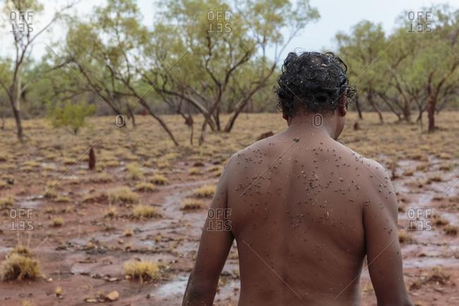 Flies on back of native Australian man