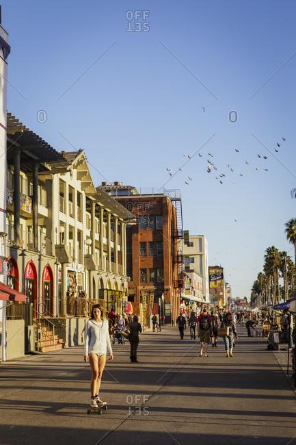 Los Angeles, California, USA - November 20, 2014: People walking at Venice beach