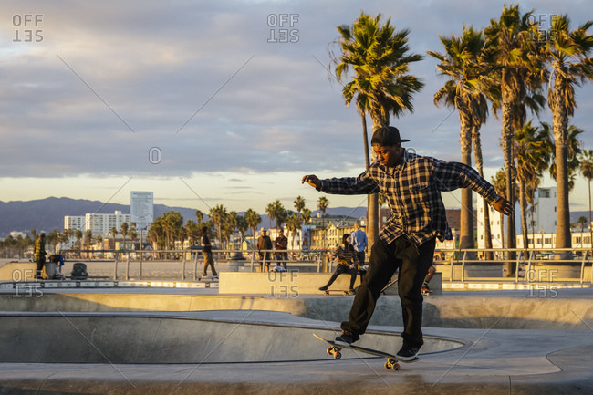 Los Angeles, California, USA - November 20, 2014: Skateboarder at Venice Beach skate park