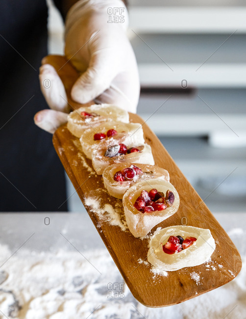 Person serving Turkish Delight