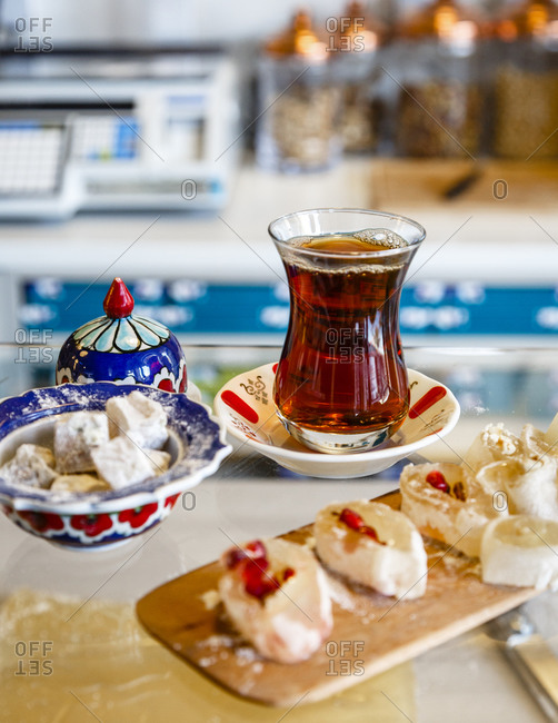 Turkish Delight with a glass of tea