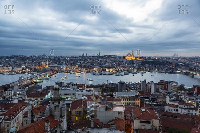 Cityscape of Istanbul at dusk, Turkey