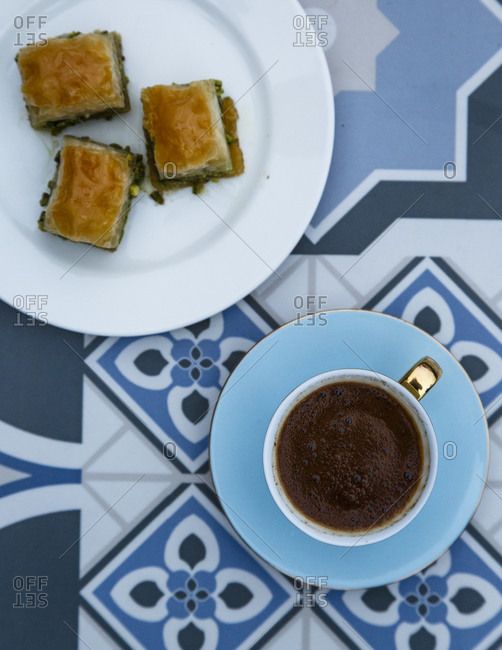 Top view of baklavas and Turkish coffee