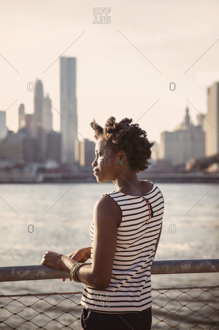 Young woman looking at the view of New York City